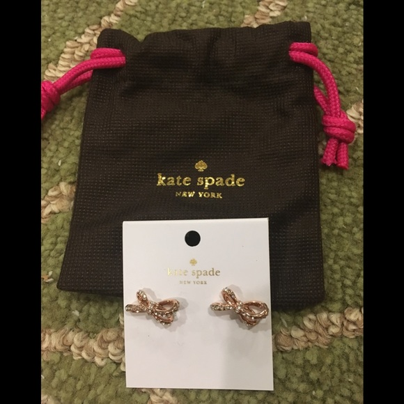 kate spade Jewelry - Kate Spade Rose Gold Bow Earrings with Bag